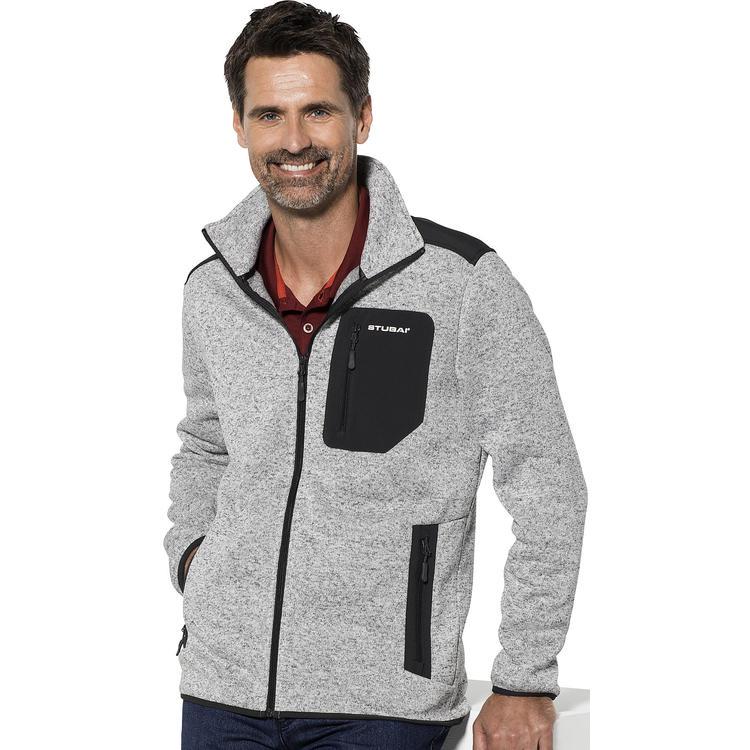 Stubai Strick Fleecejacke HerrenStrickjacke mit Fleece Innenseite für Outdooraktivität, Strick Fleece Jacke mit Stehkragen und Reißverschluss