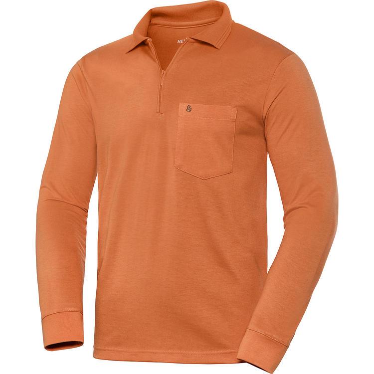 new styles 0c1cd 6d7ea HENSON&HENSON Herren Poloshirt mit Zipper langarm ...