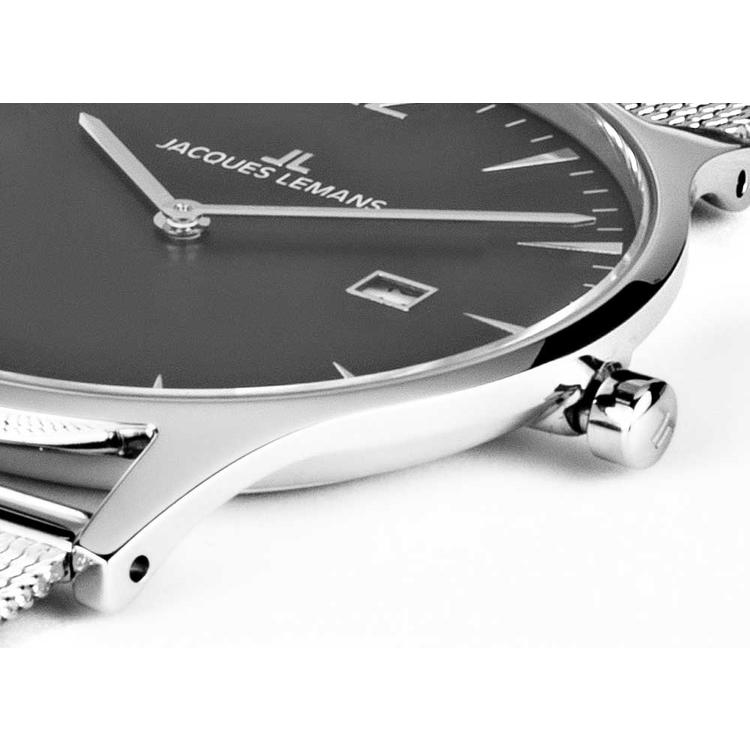 Jacques Lemans Herrenuhr extraflach silber